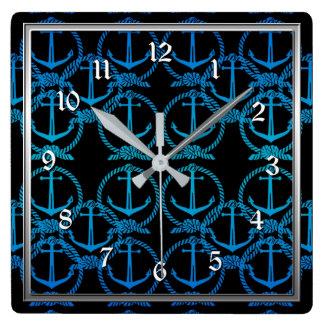Blaue Anker-Motiv-Quadrat-nautischWanduhr Quadratische Wanduhr