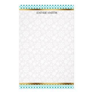 Blaue aquamarine Polka-Punkte mit Gold und weißer Briefpapier