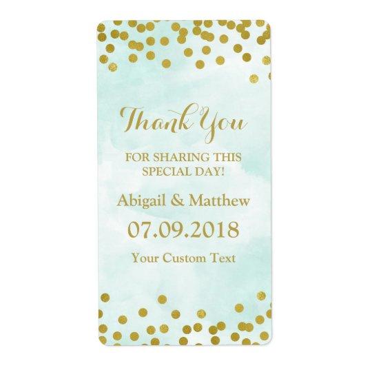 Blaue Aquarell-Goldconfetti-Hochzeits-Aufkleber