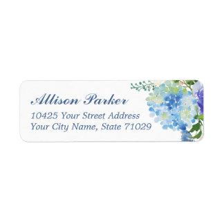 Blaue Aquarell Hydrangea Adressen-Etiketten