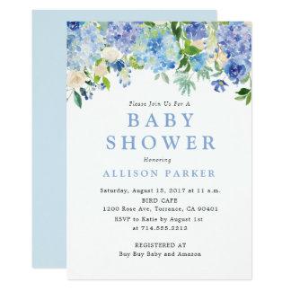 Blaue Aquarell Hydrangea Babyparty-Einladung Karte