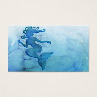 Blaue Aquarell-Meerjungfrau Visitenkarten