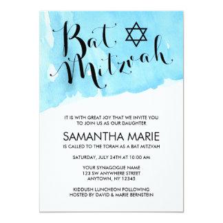Blaue Aquarell-Schläger Mitzvah Einladungen
