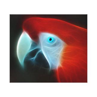 Blaue Augen des roten Fraktal-Papageien Leinwanddruck