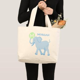 Blaue Baby-Jungen-niedliche Elefant-Windel-Tasche Jumbo Stoffbeutel