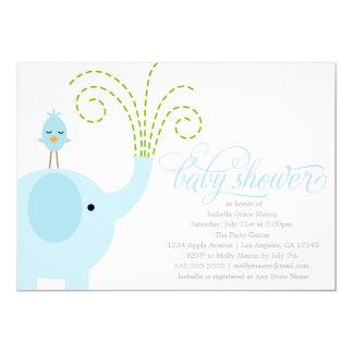 Blaue Babyparty des Elefant-| laden ein 12,7 X 17,8 Cm Einladungskarte