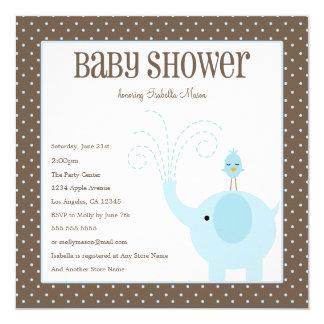 Blaue Babyparty des Elefant-| laden ein Quadratische 13,3 Cm Einladungskarte