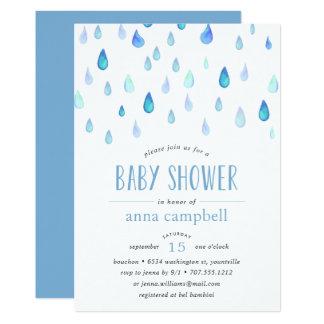 Blaue Babyparty-Einladung der Regentropfen-| Karte
