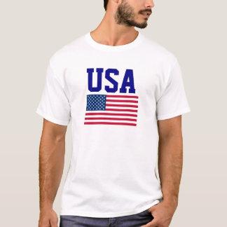 Blaue Benennungs-und USA-Flagge USA T-Shirt