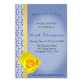 Blaue Blume Border&Yellow Rosen-Brautparty-Karte Karte