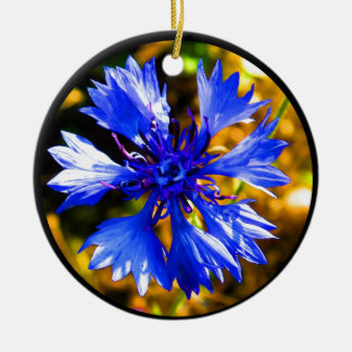 Blaue Blume Rundes Keramik Ornament