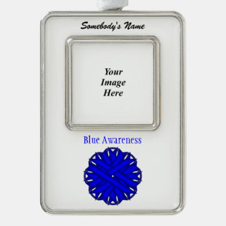 Blaue Blumen-Band-Schablone (Vl) Rahmen-Ornament Silber