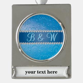 Blaue Blumen-Kunst-Deko-Jahrestags-Monogramme Banner-Ornament Silber