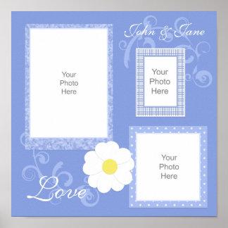 Blaue Blumen- und Wirbels-Einklebebuch-Seite Poster