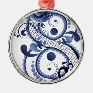 Blaue Blumenacht Rundes Silberfarbenes Ornament