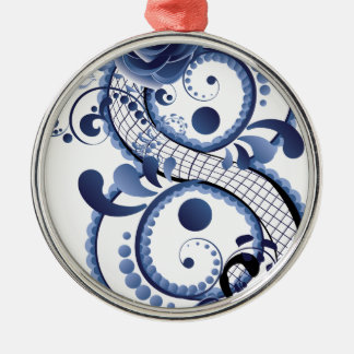 Blaue Blumenacht Silbernes Ornament