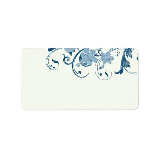 Blaue Blumenhochzeits-Leeradresse-Marineaufkleber Adressetiketten
