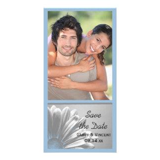 Blaue Blumenhöhepunkte, die Save the Date Wedding Karte
