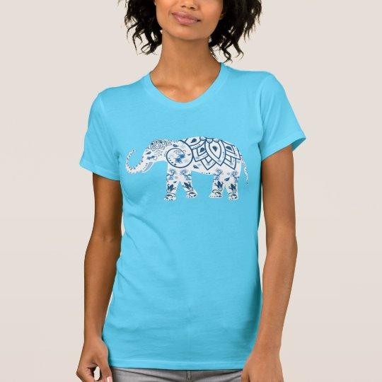 Blaue Blumenkunst-Elefant-Illustration T-Shirt
