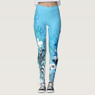 Blaue BlumenLeggins Leggings
