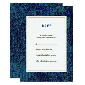 Blaue Blumenmuster-Hochzeit UAWG Karten Karte