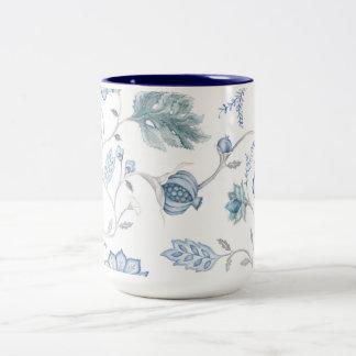 Blaue BlumenTasse Zweifarbige Tasse