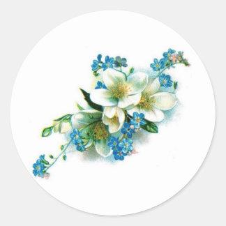 Blaue Blüten Runder Aufkleber