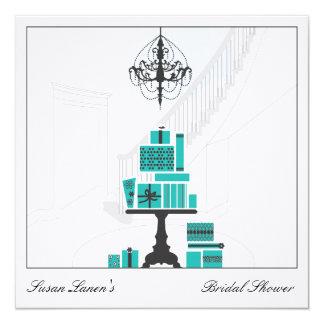 Blaue Brautparty-Hochzeits-Einladung Quadratische 13,3 Cm Einladungskarte