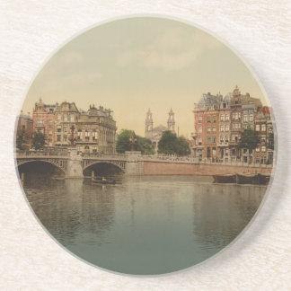 Blaue Brücke und der Amstel Fluss, Amsterdam Untersetzer