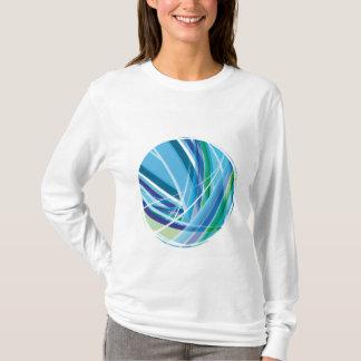 Blaue bunte Linien Hintergrund T-Shirt