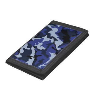 Blaue Camouflage, dreifachgefaltete Nylongeldbörse