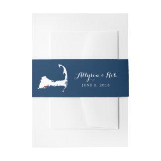 Blaue Cape Cod Karte Falmouths mit Herzen Wedding Einladungsbanderole
