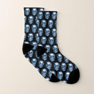 Blaue Chrom-Schädel-Socken Socken