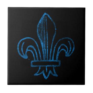 Blaue/cyan-blaue getragene Lilie Kleine Quadratische Fliese