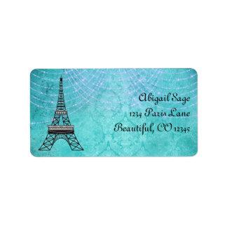 Blaue Damast-Eiffelturm-und Schnur-Lichter Adressaufkleber