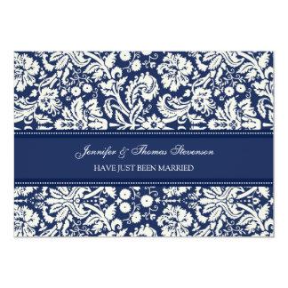 Blaue Damast-gerade verheiratete 12,7 X 17,8 Cm Einladungskarte