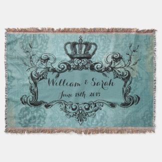 Blaue Damast-personalisierte Hochzeits-königlicher Decke