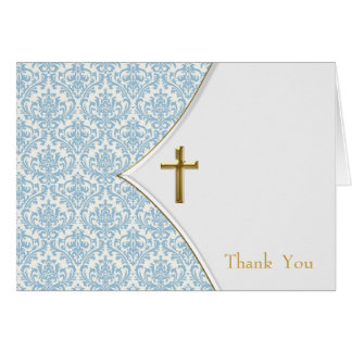 Blaue Damast-Taufe danken Ihnen Mitteilungskarte