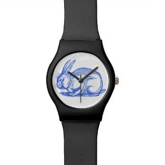 Blaue das Häschen-Uhr der Frauen (Schwarzes) Uhren