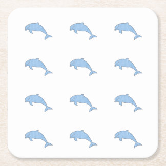 Blaue Delphin-Party-Versorgungen Rechteckiger Pappuntersetzer