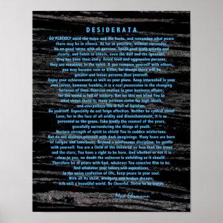 Blaue Desiderata auf Raum-Staub-Schwarz-Marmor Poster