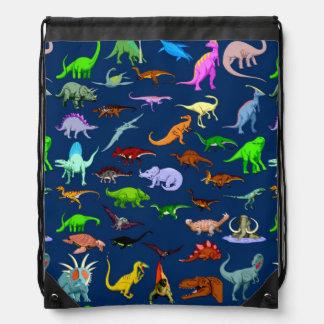 Blaue Dinosaurierdrawstring-Tasche Sportbeutel