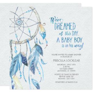 Blaue Dreamcatcher Babyparty-Einladung Karte