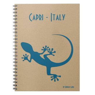 Blaue Eidechse, geko - Faraglioni, Capri, Italien Notizblock