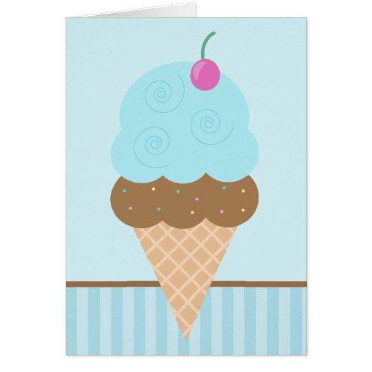 Blaue Eistüte Grußkarte