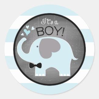 Blaue Elefant Bogen-Krawatte Streifen-Babyparty Runder Aufkleber