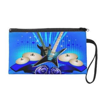 Blaue elektrische Gitarren, Trommeln u. Wristlet