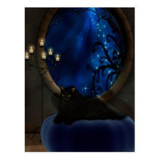 Blaue Fantasie-Katzen-Mitternachtskunst Postkarte