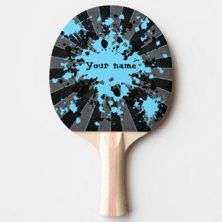 Blaue Farben-Spritzer schwarz und graues Tischtennis Schläger