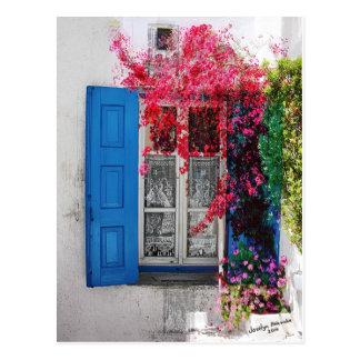 Blaue Fensterläden Postkarte